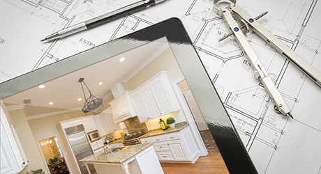 Computer Tablet Showing Finished Kitchen On House Plans, Pencil,